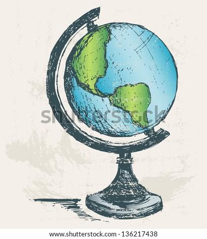 Globe sketch. Grunge style. Raster version