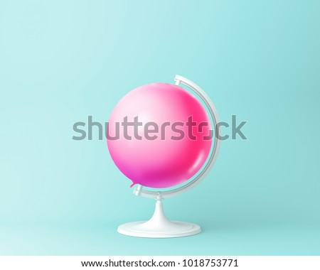 Globe sphere orb balloon pink concept on pastel blue background. minimal idea  concept. An idea creative to produce work within an advertising marketing communications or artwork design. #1018753771