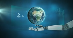 Globe spinning over robotic hand against mathematical equations on blue background. mathematical and robotics research technology concept
