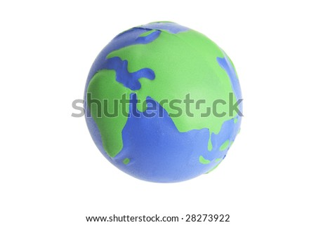 Globe Stress Ball on Isolated White Background