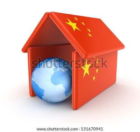 Globe under chinese flag.Isolated on white background.3d rendered.
