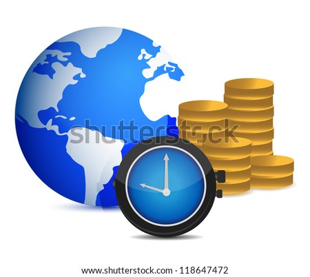 globe watch and coins illustration design over white