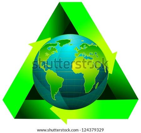 Globe wiht recycling symbol, 2d illustration