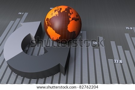 Globe with business arrows