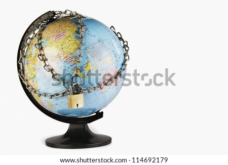 Globe with chains around it