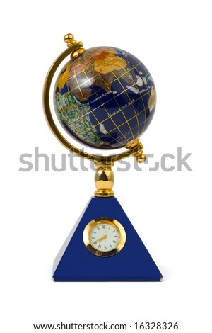 Globe with clock isolated on white background