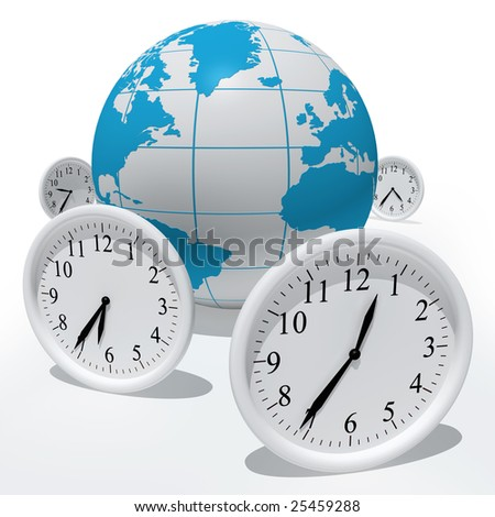 Globe with clocks isolated on white