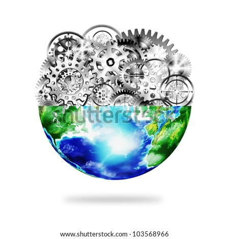 globe with cogs and gears, industrial and technology background