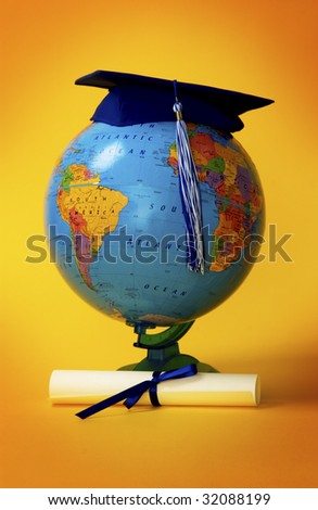 Globe with diploma