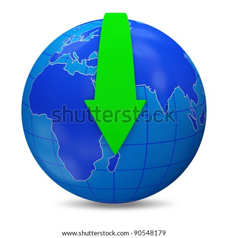 Globe with Download arrow on white background