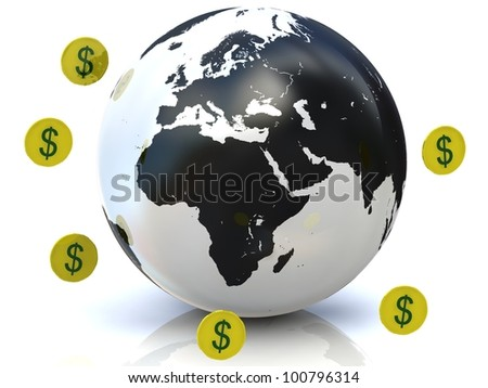 globe with gold coins
