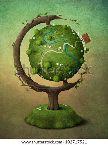 Globe with  house, garden and road. Illustration or greeting card. - stock photo