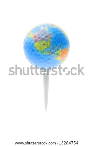 Globe with jigsaw puzzle and dimples texture on golf tee isolated on white