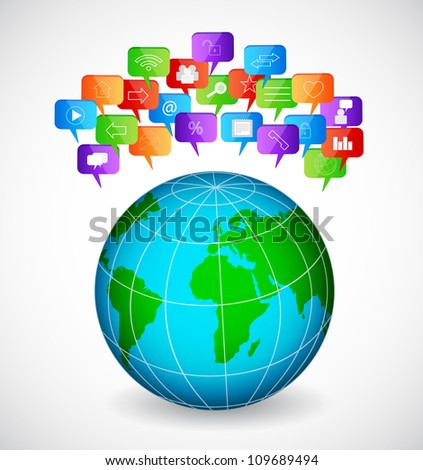 Globe with social speech bubbles. Raster version