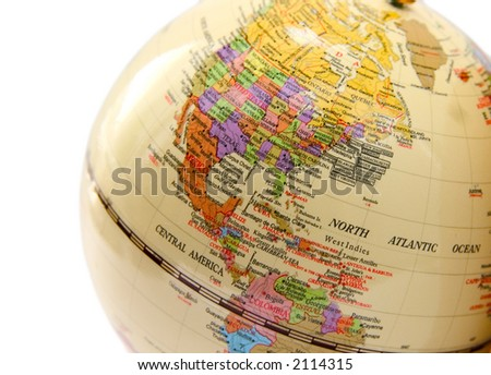 globe with the image of the USA Canada and Mexico on a white background