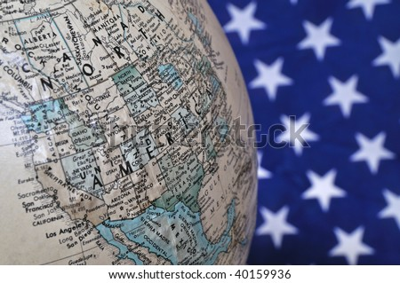 Globe with the USA and US flag background
