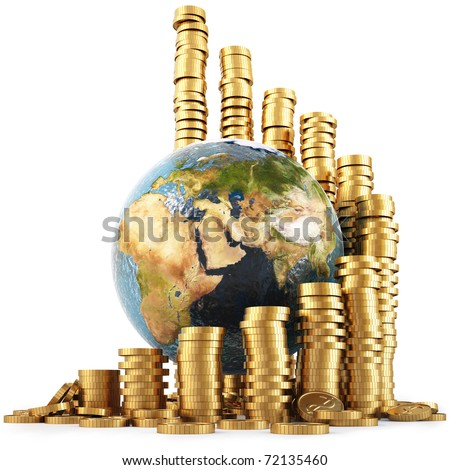 globe with twisted diagram of golden coins isolated on white. with clipping path.