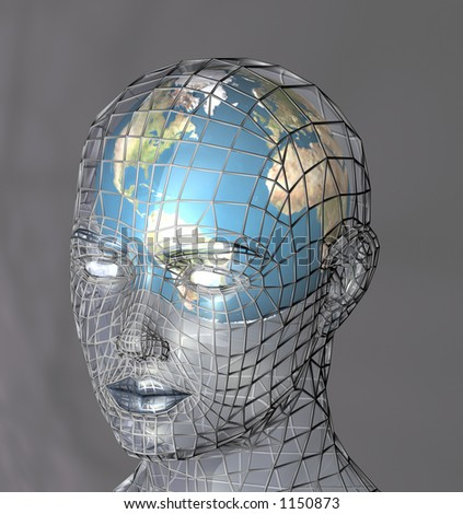 Globe within a transparent head, perhaps representing the potential of the mind, intellect or psyche. 3d abstract render.