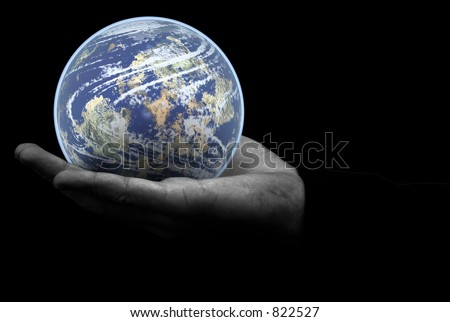 Globe world earth in the palm of your hand