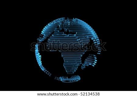 Globe World Map 3d Rendered Xray Blue Transparent Stock Photo ...