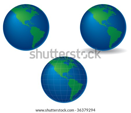 globes centered on the americas, with shadow and longitude and latitude lines - stock photo