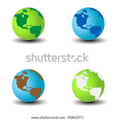 globes with continents and shadows