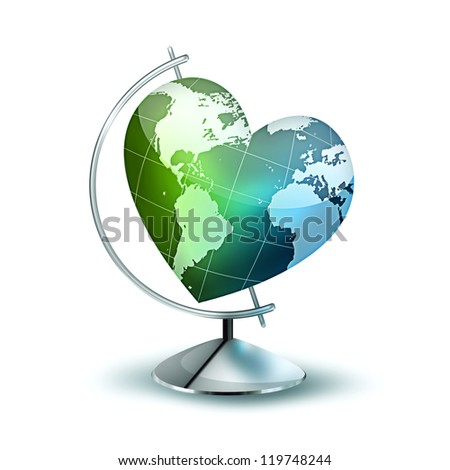 Globus with the planet in the form of heart - symbol of environmental
