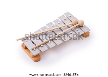 Glockenspiel with two mallets isolated on white