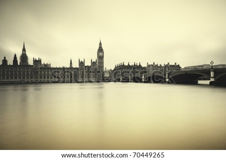 Gloomy and dark image of Houses of Parliament