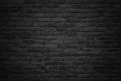 gloomy background, black brick wall of dark stone texture