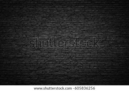 gloomy background, black brick wall of dark stone texture #605836256