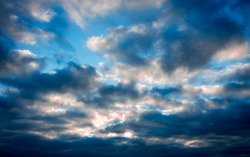 gloomy blue morning sky before the storm