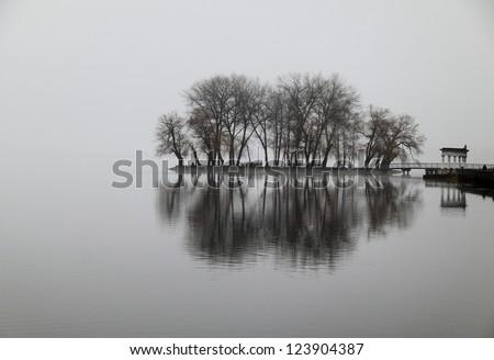 gloomy island on the lake