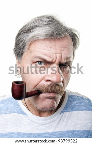 gloomy mature man with smoking pipe isolated on white background