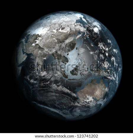 Gloomy, polluted Earth. Elements of this image furnished by NASA. Other orientations available.