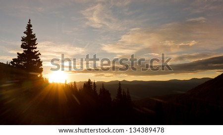 Glorious Sunrise in the Wilderness of the Rocky Mountains in Colorado, USA
