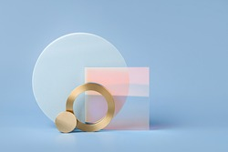 Gloss acrylic sheet with  round geometric shapes and golden elements on a blue background. Stylish background