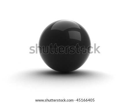 Glossy black pearl / sphere with shadow