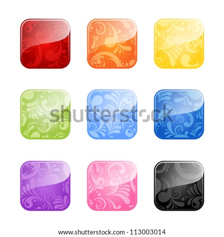 Glossy blank buttons with floral ornate in color variations isolated on white background