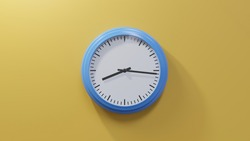 Glossy blue clock on a orange wall at sixteen past eight. Time is 08:16 or 20:16