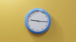 Glossy blue clock on a orange wall at sixteen past nine. Time is 09:16 or 21:16