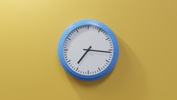 Glossy blue clock on a orange wall at sixteen past seven. Time is 07:16 or 19:16