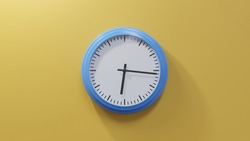 Glossy blue clock on a orange wall at sixteen past six. Time is 06:16 or 18:16
