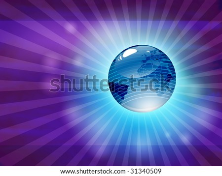 Glossy blue earth in abstract background, which has many light effects, looks like space.