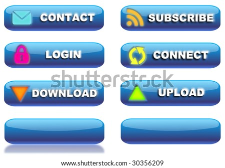 glossy blue web buttons with various internet related topics