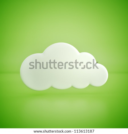 glossy cloud on green