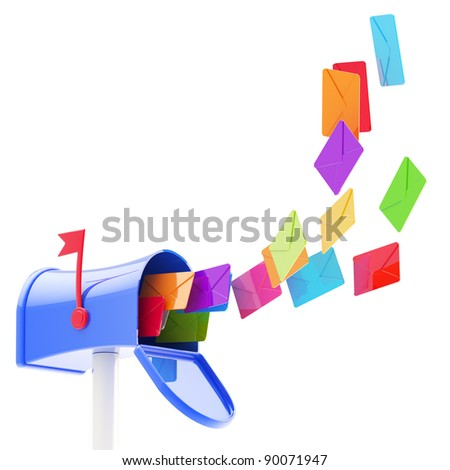 Glossy colorful plastic maibox with a flock of coloured letters flying into it, isolated on white