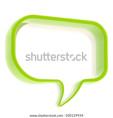 Glossy copyspace text bubble icon banner isolated on white