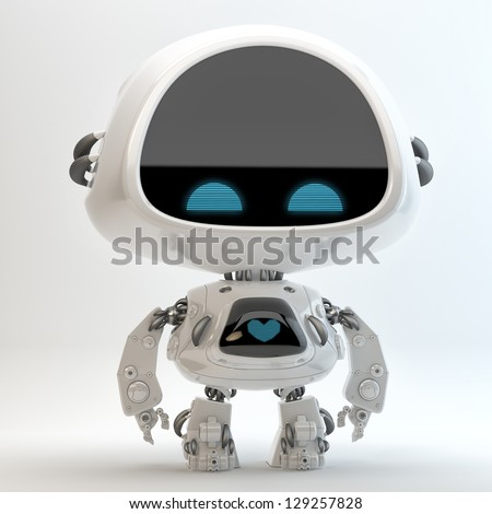 Glossy cute robotic cyber toy with screen indicator 3D render Little robot toy