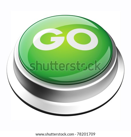 glossy 3D go button in brushed metal frame #78201709